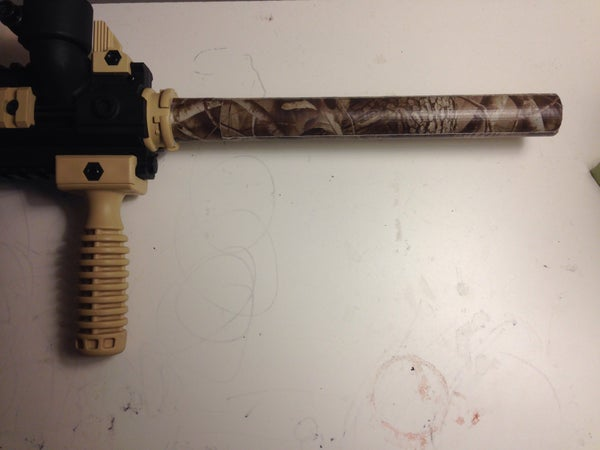 Camouflaged Paintball Barrel Using Camouflage Duct Tape