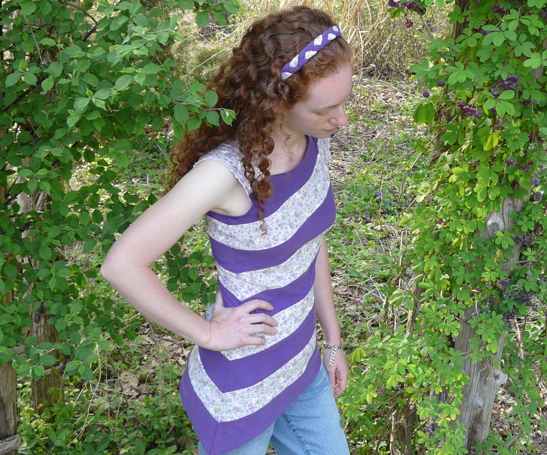 Asymmetrical striped top and matching headband