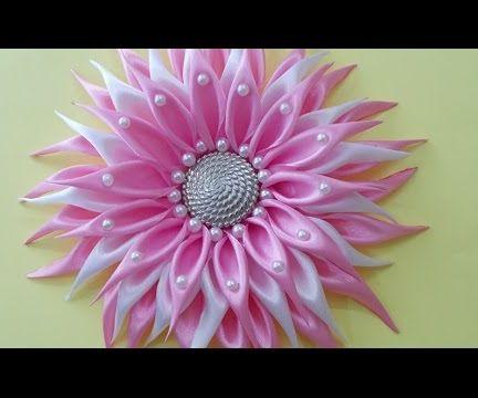 DIY for Girls : How to Make DIY Kanzashi Satin RIbbon Dahlia Flower