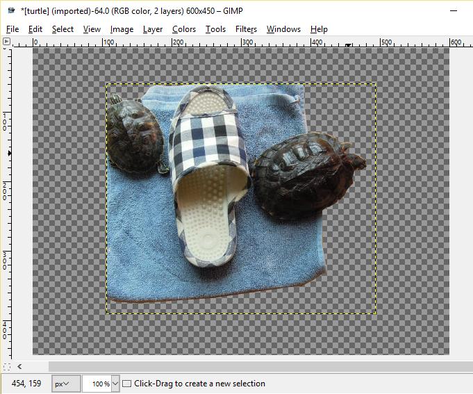 Adding a transparent background using GIMP