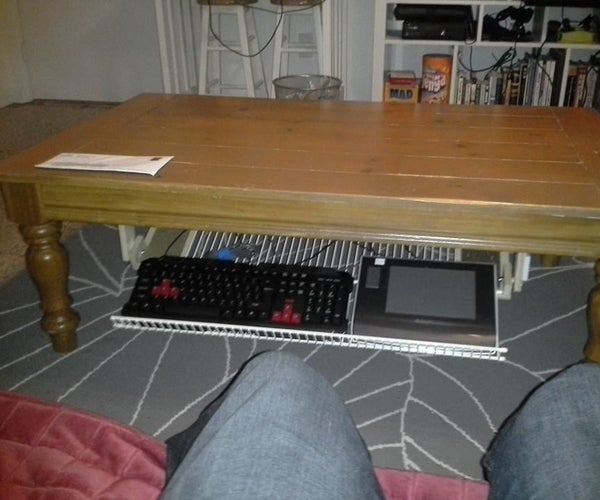 Fold-Out Under-Table Storage Rack