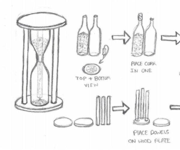 Recycled Wine Bottle Half-Hour Glass