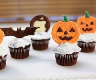 Halloween Pumpkin Chocolate Cupcake Toppers