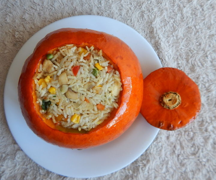 Roasted Pumpkin Stuffed With Everything Good