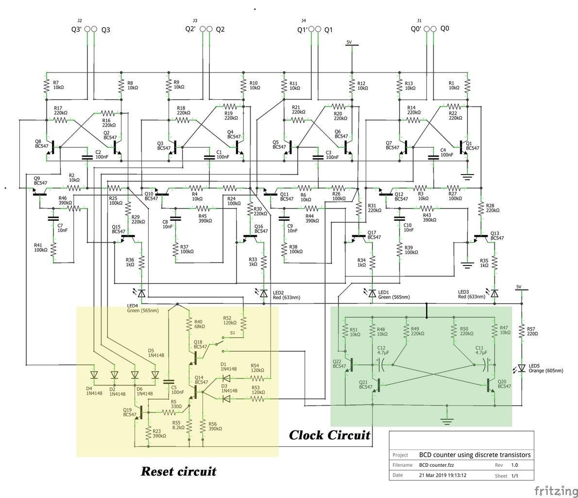 BCD Counter Using Discrete TRANSISTORS