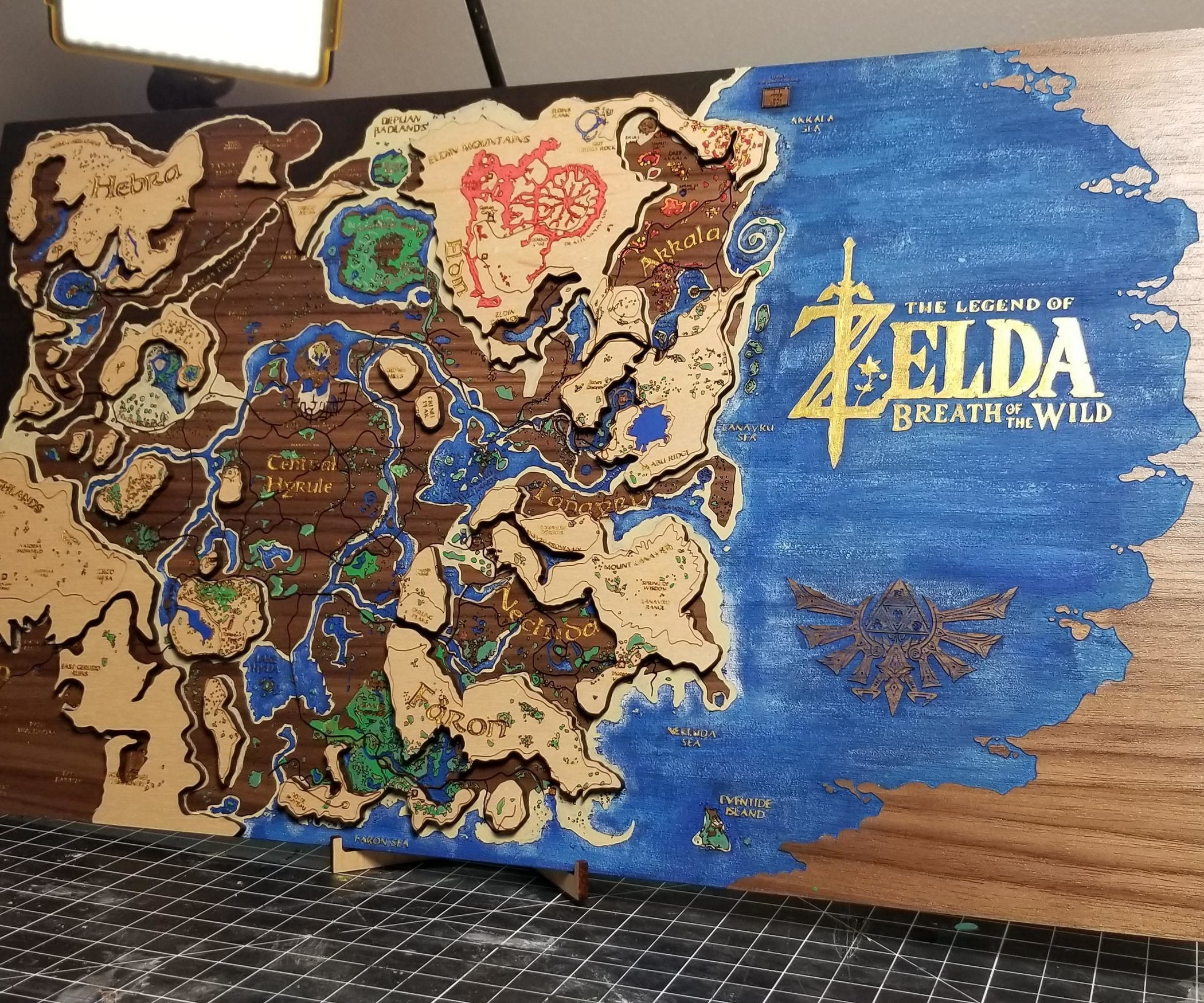 Multi Layer Map Of Hyrule Laser Engraved And Painted 6 Steps With Pictures Instructables