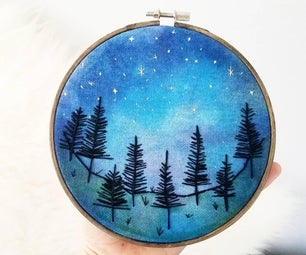 Dyed Fabric Embroidery Hoop Art