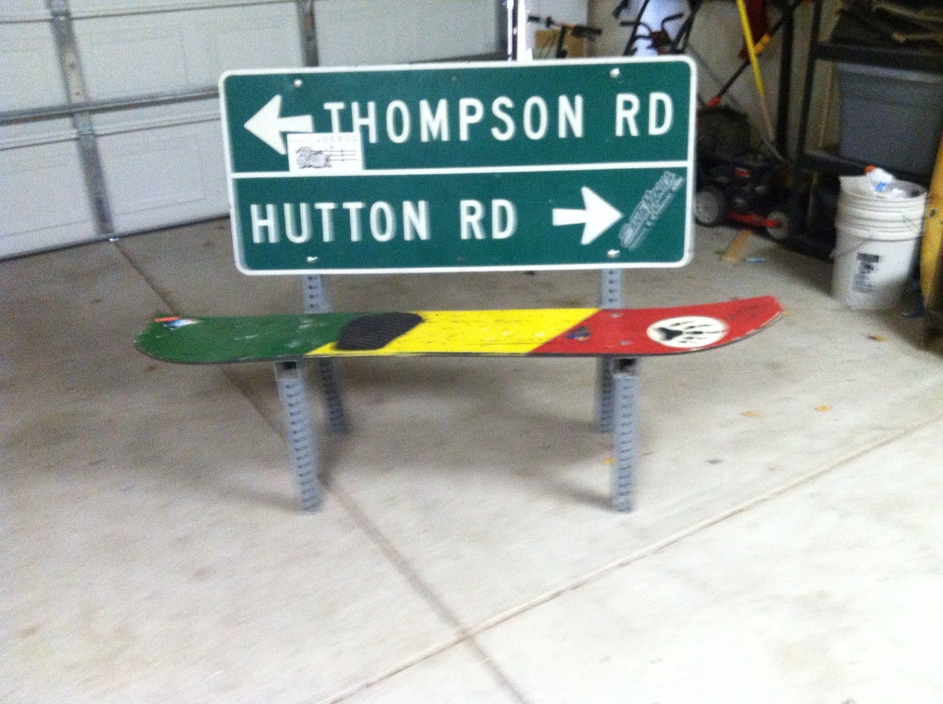 Road Sign/Snowboard Bench