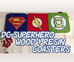 DC Superhero Wood & Resin Coasters