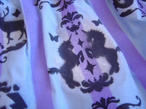 Spraypaint Stenciled Brocade Pattern Skirt