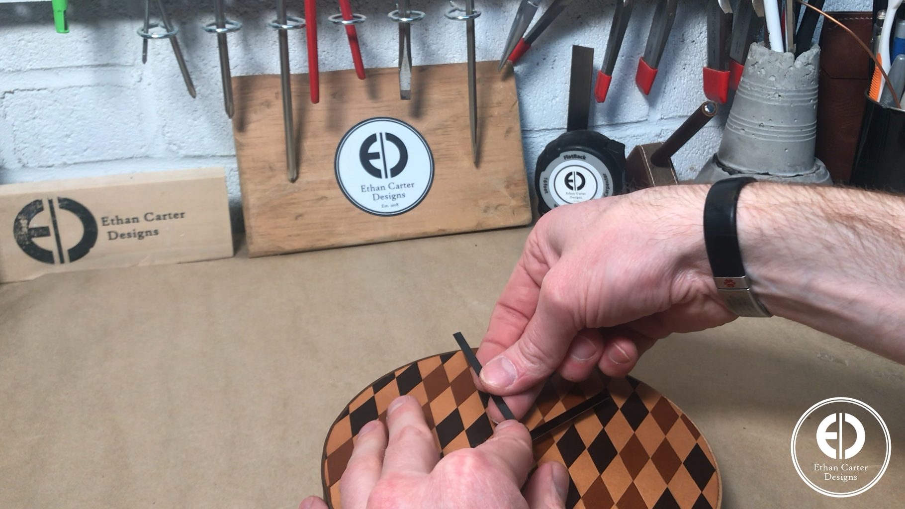 Attaching the Patterned Leather to the Clock Backer and Attaching the Clock Mechanism