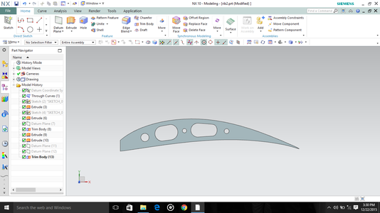 Modelling: Selection of Airfoil & Modelling the Plane in the Nx9 Software