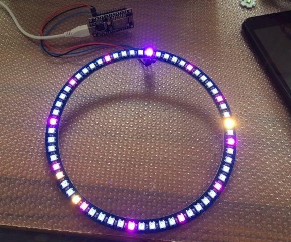 Wol Clock ESP8266-12E + 60 LED WS2812B Analogue Digital Clock