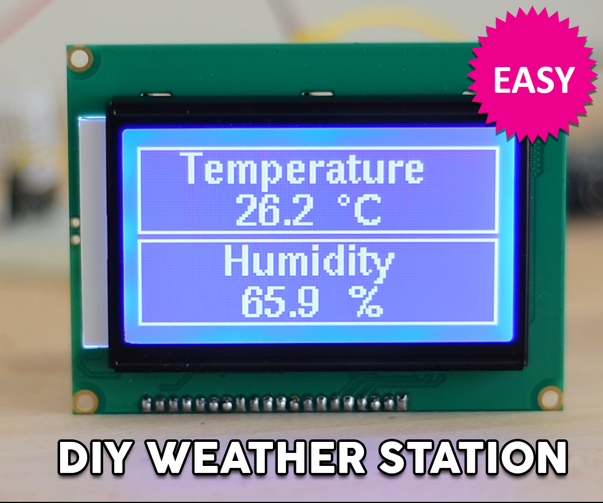 Weather Station Using a Big ST7920 Display