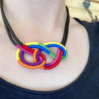 Colorful Wrapped Rope Macrame Knot Necklace