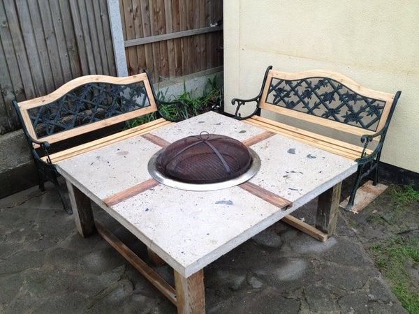 Polished Concrete Fire Pit Table