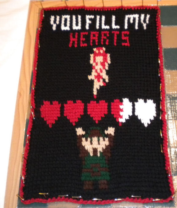 Legend of Zelda Valentine Message - Tunisian Crochet