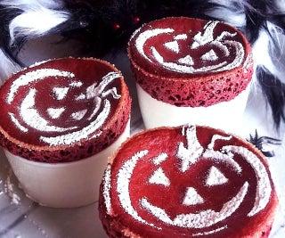 Halloween Red Velvet Souffle With Sugar Stencil