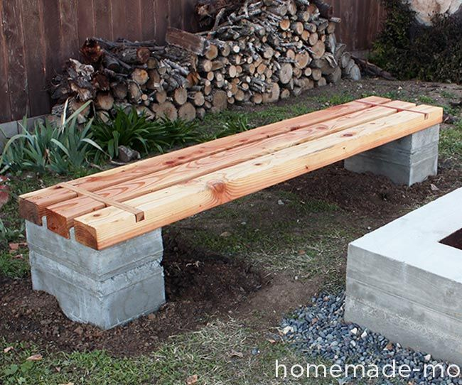 HomeMade Modern DIY Outdoor Concrete Bench