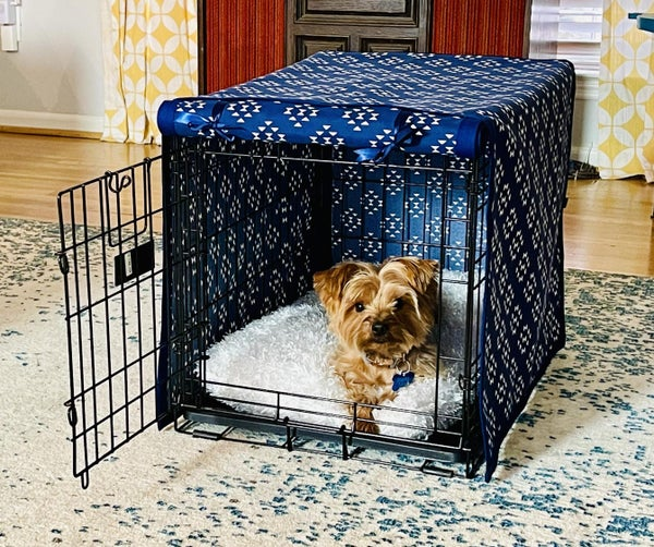 Cozy Up Your Dog's Crate With a Crate Cover + Fuzzy Mattress!