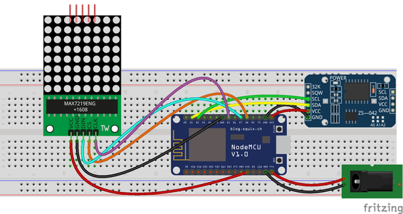Connect the LED Matrix Display and the RTC to the ESP8266