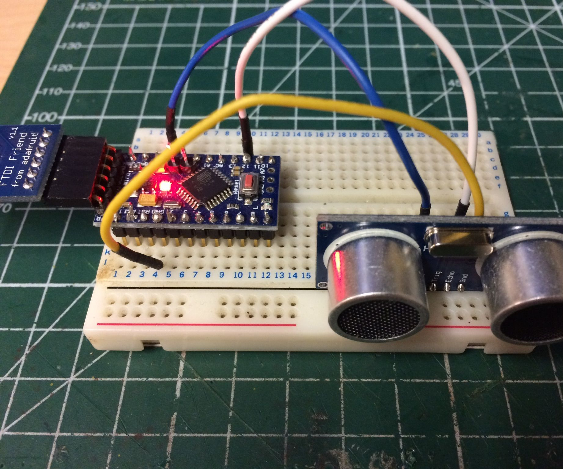 Super Simple Sonar on arduino pro-mini 5v with HC-SR04 sonar module