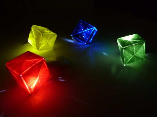 Sparkly Origami LED Cubes