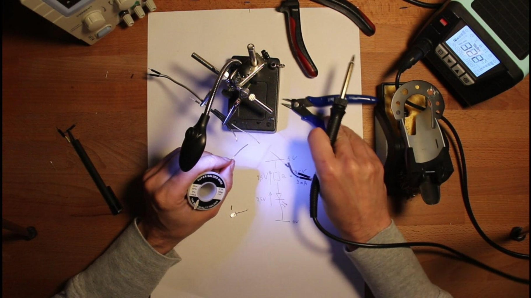 Assembly of LED Light Source With Series Resistor.