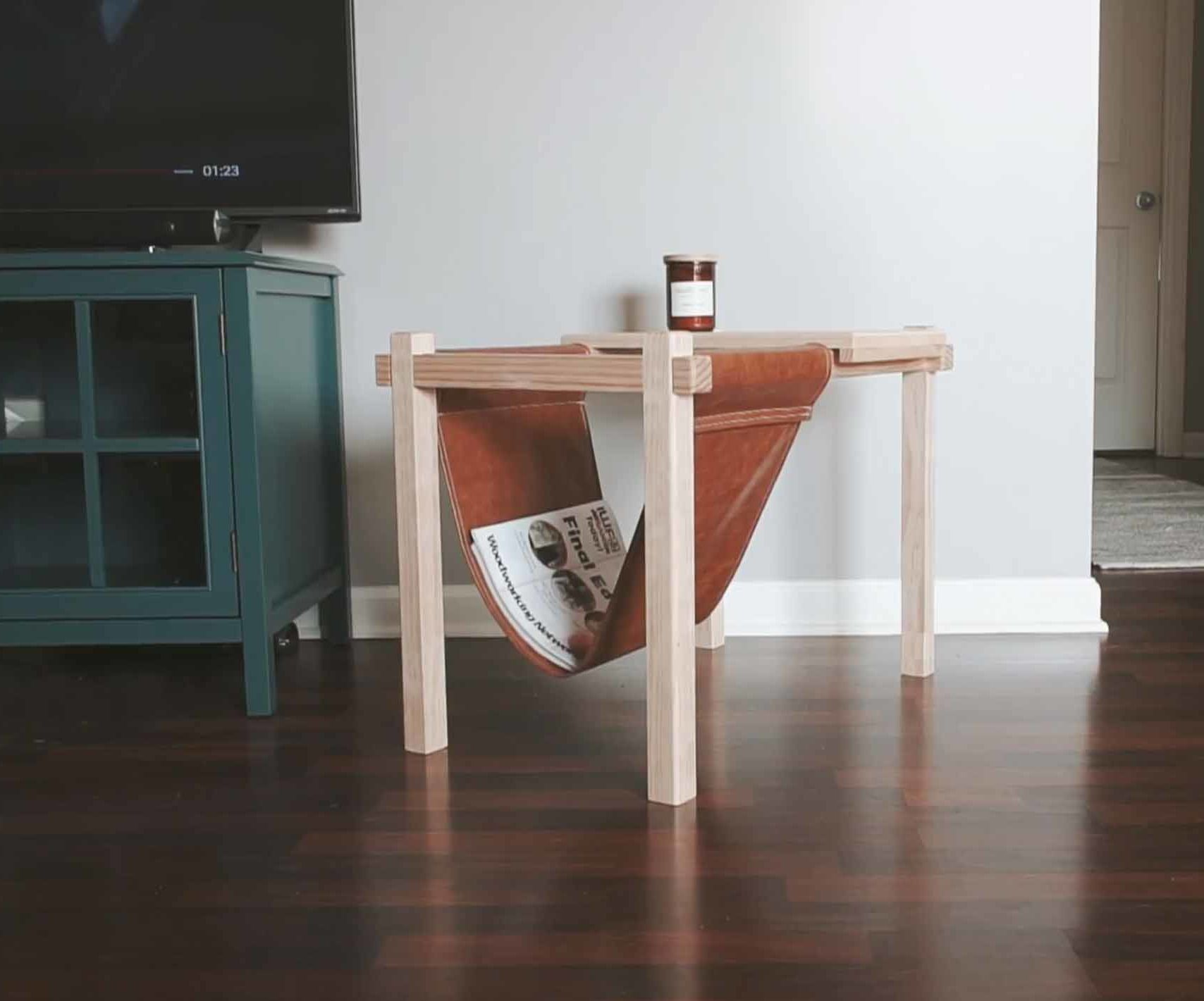 DIY Side Tables With Fabric Magazine Rack