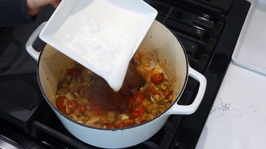 Adding Thai Paste and Coconut Milk