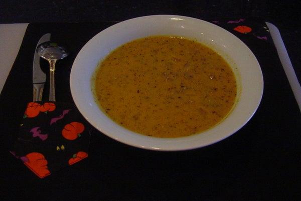 Ghoul-icious Sausage and Pumpkin Soup....It's Spook-tacular
