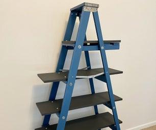 Upcycled Wooden Ladder Bookshelf
