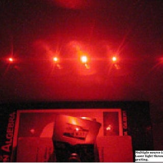 Multiple source interference. Laser light through a diffraction grating.JPG