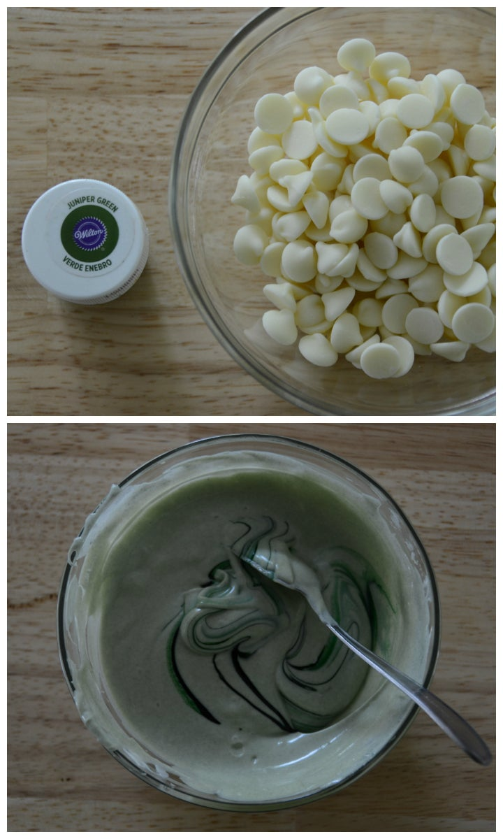 White Chocolate Into Green Leaves