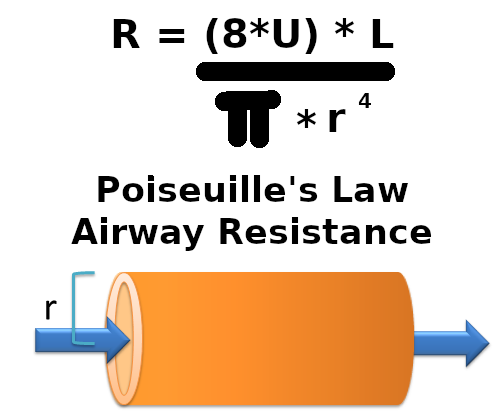 Python - Poiseuille's Law (Airway Resistance)