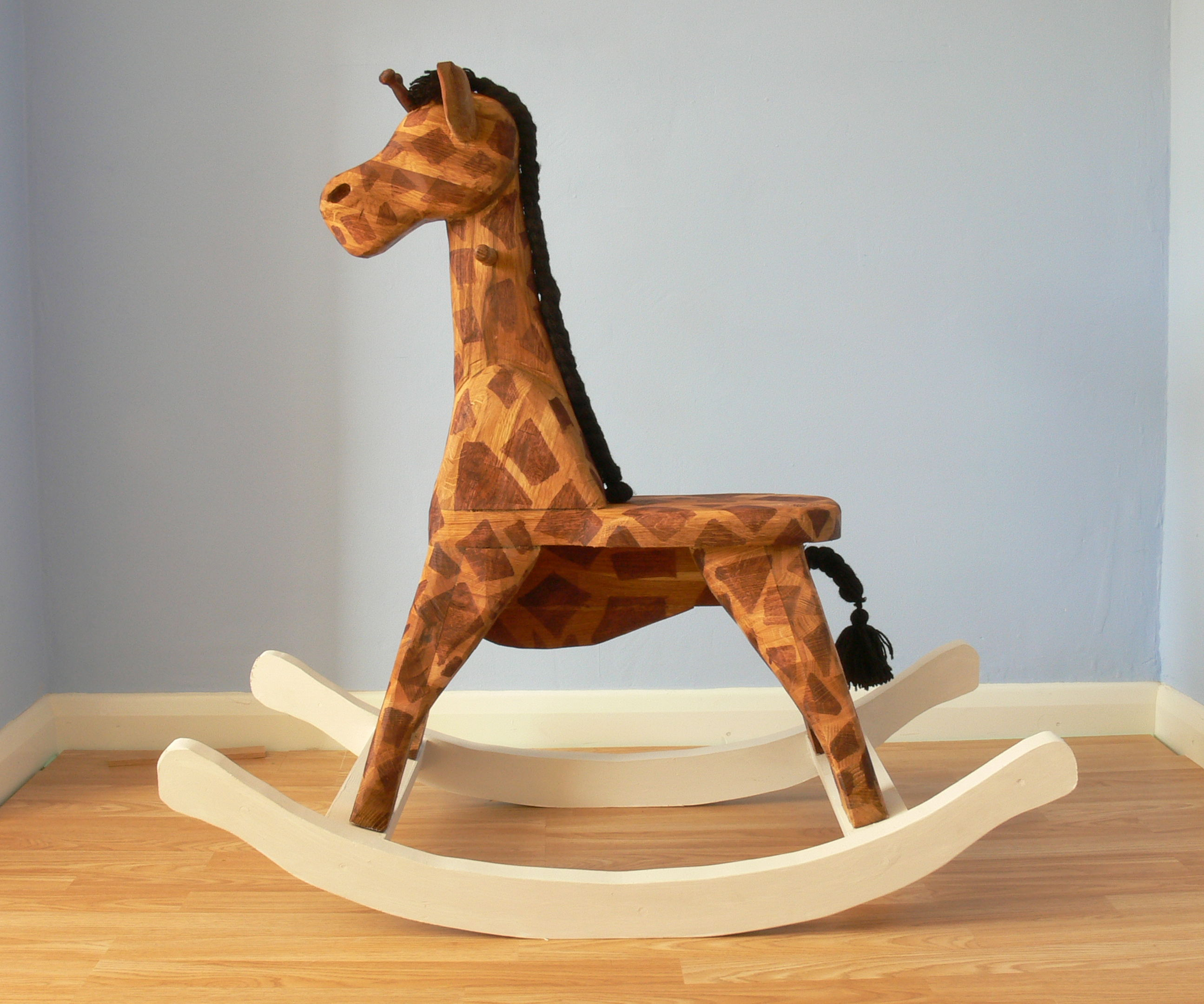 Wooden Rocking Horse Giraffe - Made Out of Kitchen Worktop