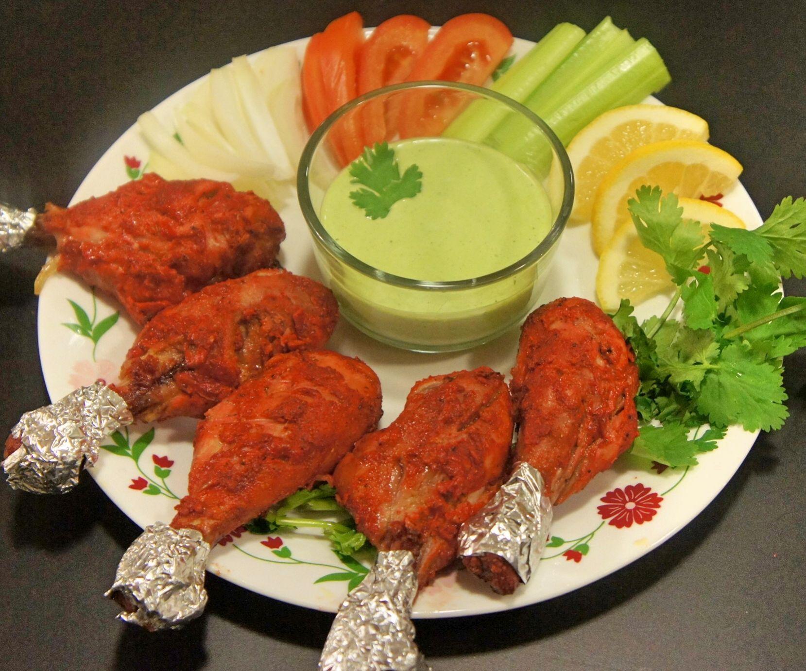 Tandoori Chicken In The Oven With Coriander Yogurt Dip