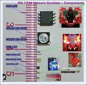 RG 1/144 Unicorn Gundam Using Arduino Nano and Attiny85