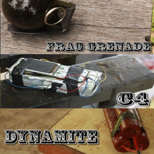 Frag Grenade, C4, dynamite Props (Easy)