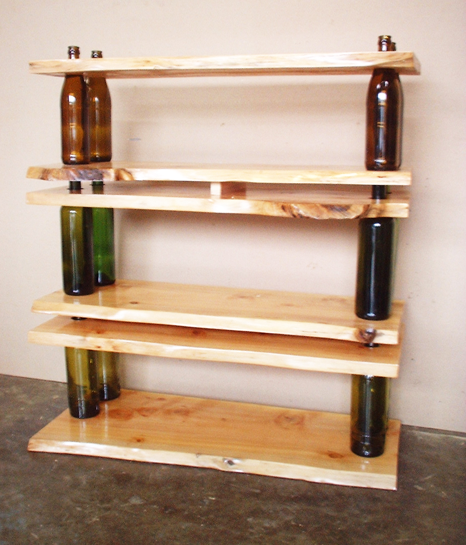 Ten Green Modular Shelving: shelving and tables using glass bottles