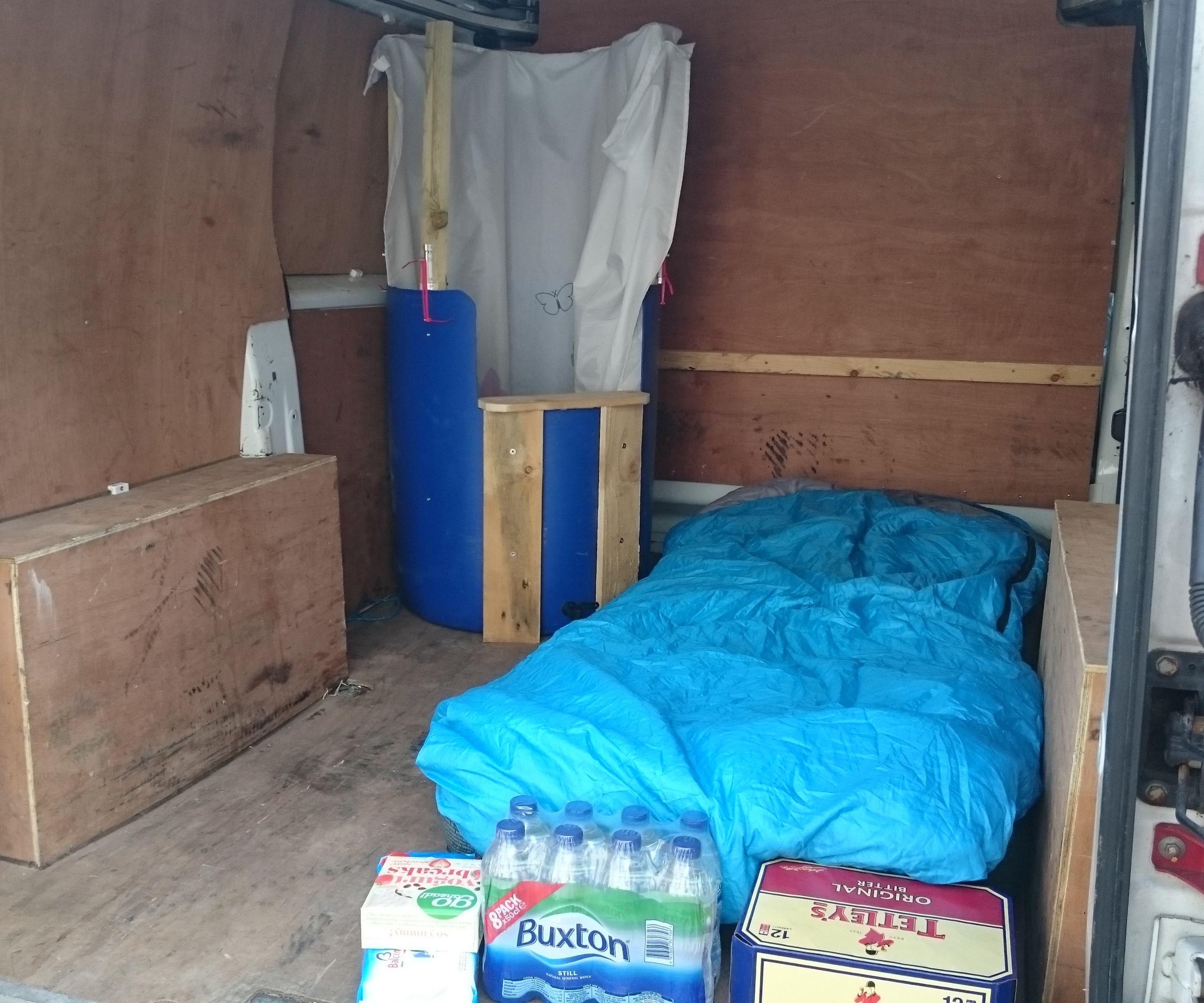 Camping van shower