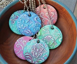 Damask Polymer Clay Pendants!