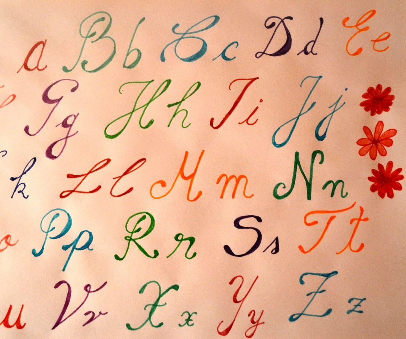 Handwriting Tutorial - Alphabet in colours