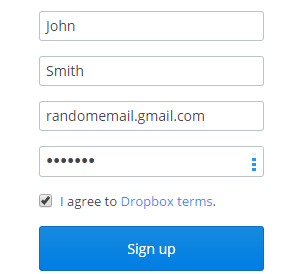 Sign Up for Dropbox