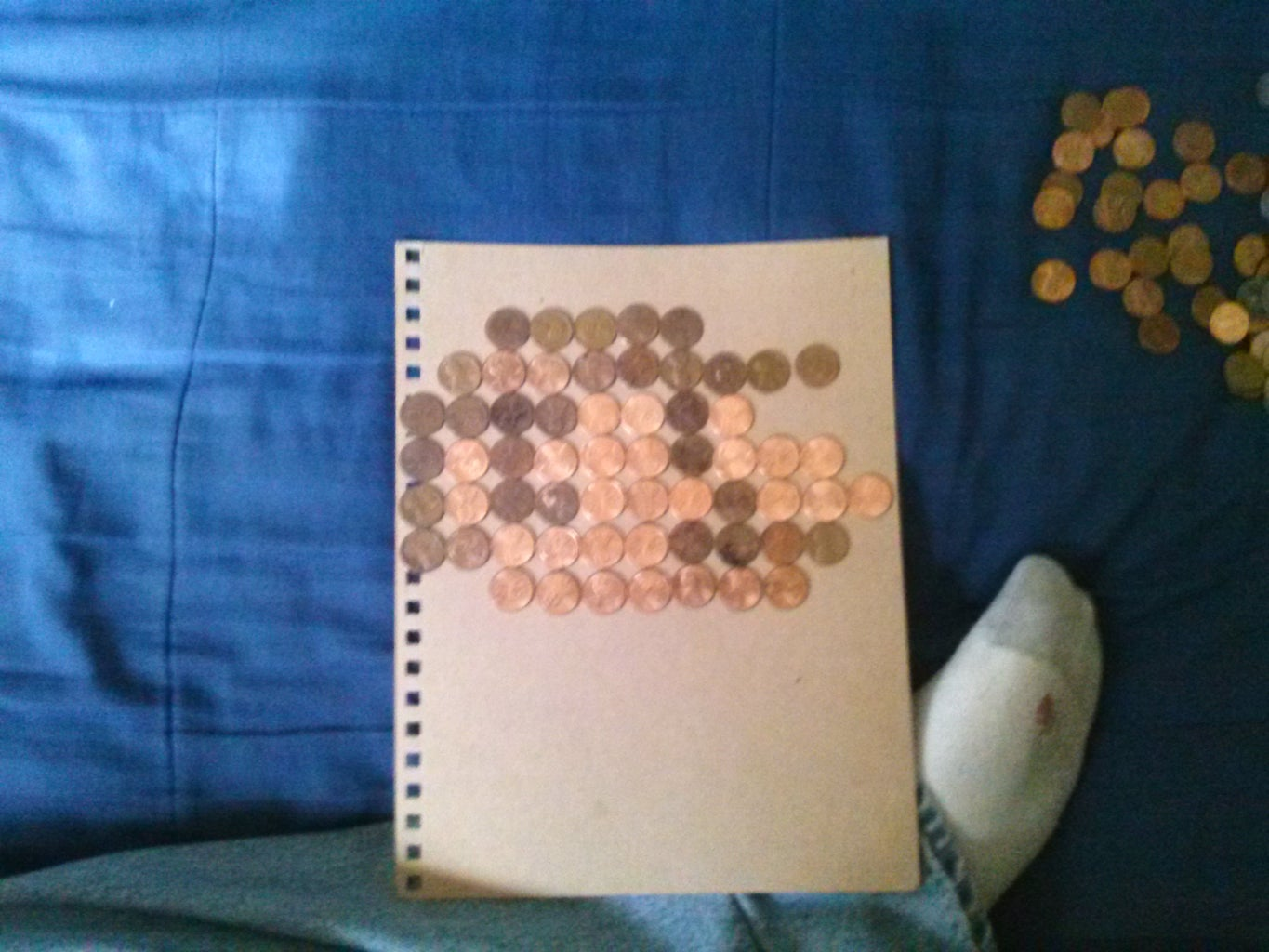 Next Is Using Your Seperated Coins and Start to Lay Them Out.