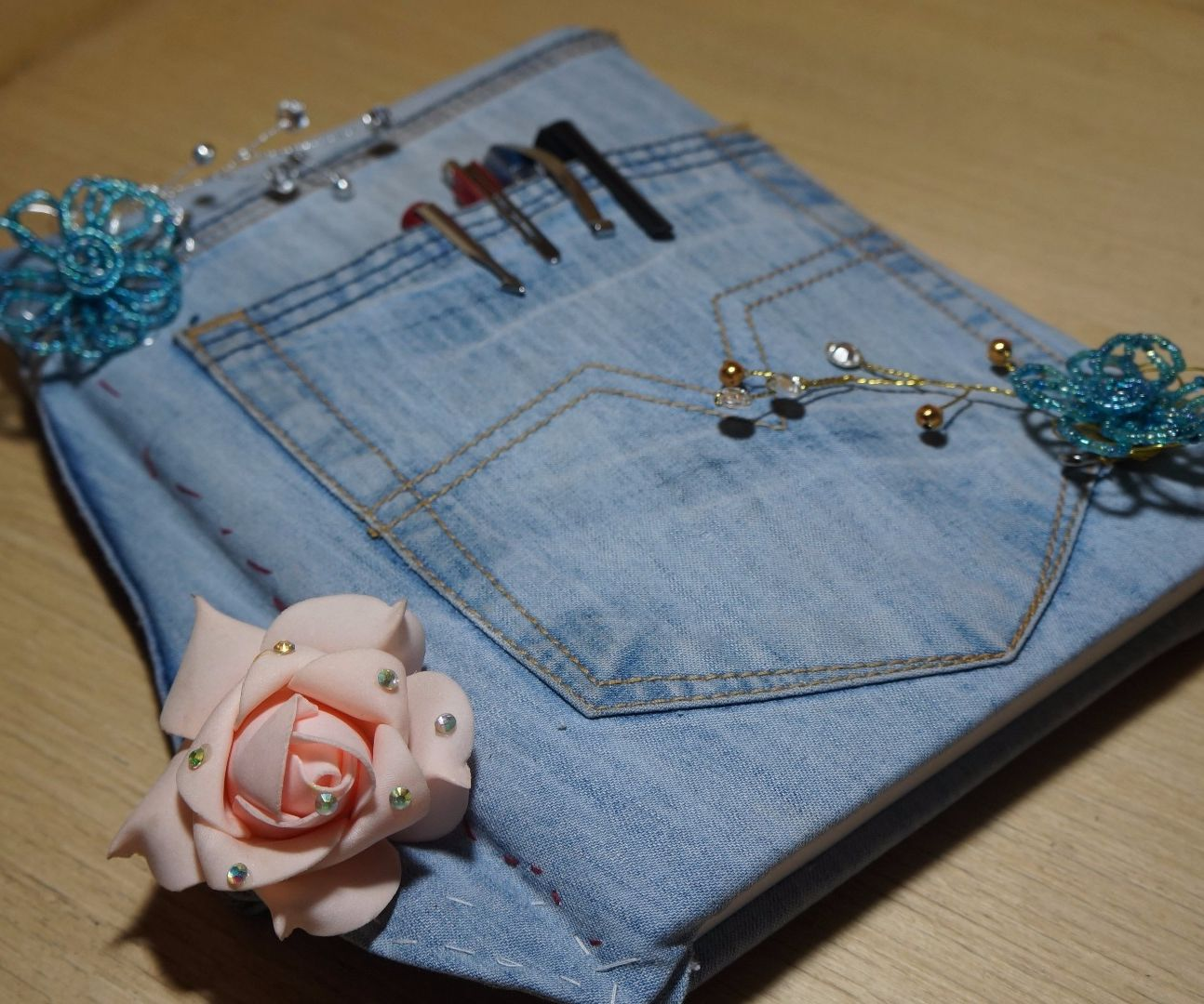 Diary cover from old denim jeans