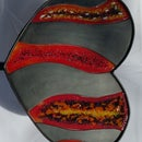 Steel Heart and Fused Glass Sculpture