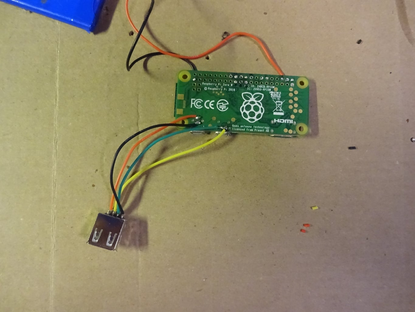 Solder the USB Jack to the Raspberry Pi