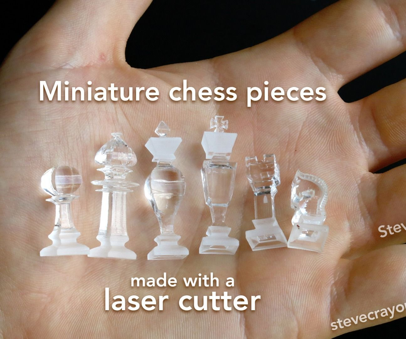 3D Miniature Chess Pieces made with a Laser Cutter