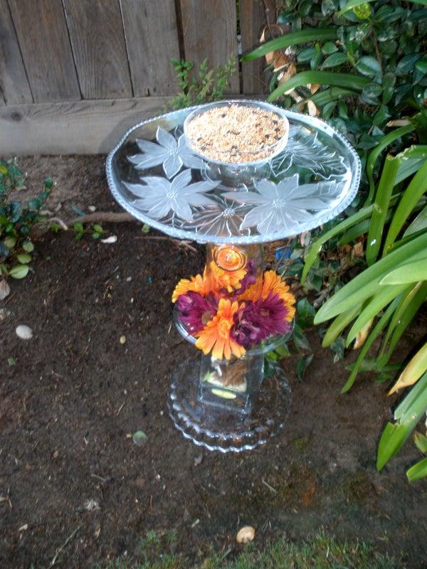 Glassware Bird Bath, Feeder, or Plant Stand